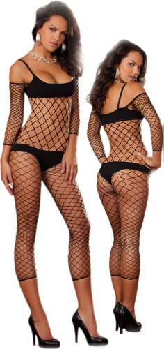 Sexy Black Fence Net Body Stocking - One Size