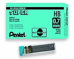 Pentel Super Hi-Polymer Lead Refill, 0.7mm Medium, HB, 360 Pieces of Lead (C27-HB)
