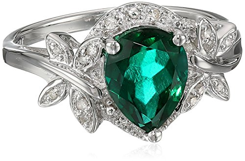 Sterling Silver Dragonfly Created-Emerald Diamond (0.07cttw, I-J Color, I2-I3 Clarity) Ring, Size 7