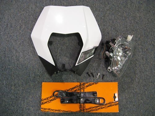 KTM 2008-2012 200 250 300 450 530 XC EXC XCW HEADLIGHT ASSEMBLY WHITE MASK KIT (Ktm 300 Headlight Switch compare prices)