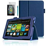LUVCase - PU Leather Stand Case Cover Skin With Built-in Magnet Sleep / Wake Function Sensor + Screen Protector + ProPen Stylus Pen Touch Screen Pen For Amazon Kindle Fire 7 inch HD 2013 2nd Generation Version - Dark Blue