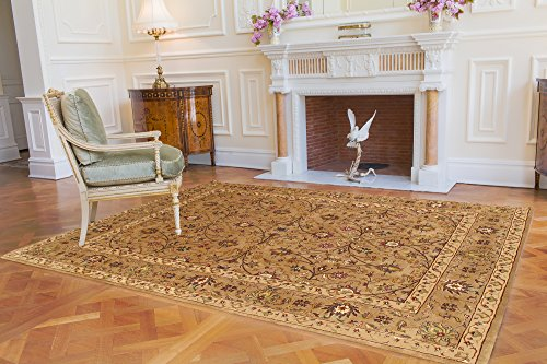 Pasargad Tabriz Collection Pastel Colors Hand-Tufted Area Rug- Gold (9x12)