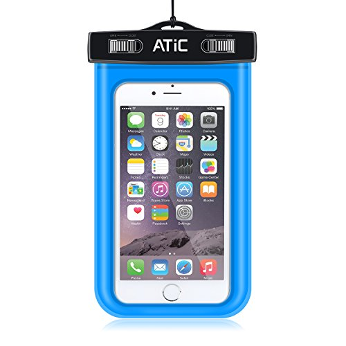 ATiC ストラップアームバンド式両用透明防水ケース - iPhone 6 / 6 Plus / 5 / 5S / 4 / 4S, Samsung Galaxy S6 / S6 Edge / S5 / S4 / S4 Active, Note 4, iPod Touch 3 / 4 / 5, HTC ONE X / ONE S Z520E / ONE M9, Windows Phone 8 ( ATT, T-Mobile, Verizon ), Motorola DROID RAZR / LG G2 / G3 / Droid Turbo, LG G Flex 2, Nexus 4 / Nexus 6, Nokia Lumia 920, 820, Sony Z1 / Z2 / Z3(5.7インチ以下の携帯)に適用ストラップアームバンド式両用防水 ケース。防水保護等級 : IPx8。BLUE
