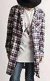 (バレッタ) Valletta ネルチェック チェスターコート ネルシャツ チェック柄 ジャケット ロングコート メンズ ストリートモード カジュアル 33ホワイト×ネイビー Lサイズ