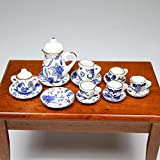 1:12 16PCS Blue Flower Patten Porcelain Coffee Tea Cup Miniature Dollhouse Gift