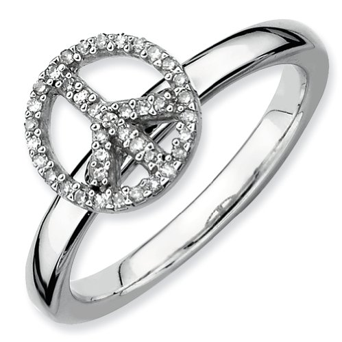 Sterling Silver Stackable Expressions Peace Symbol Diamond Ring (Size 10)