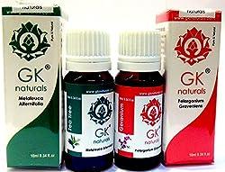 GK NATURALS Anti Lice Hair Oil - Premium Aroma Essentials Combo ( for Hair Lice) - Pack of 2 (Geranium Essential Oil + Tea Tree Essential Oil ) 20 ml