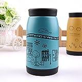 1pc Korean Stainless Steel Tea Water Coffee Flask Vacuum Thermo Bottle Cup Mug (Blue)