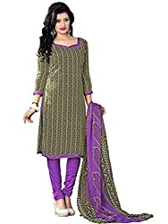 Fashion Queen Presents Dark Olive Green Colored Unstitched Dress Material
