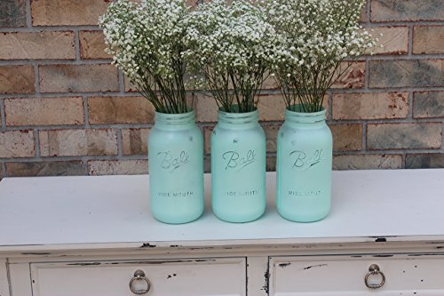3 Turquoise Blue Mason Jar Set- Available in Pint, Quart, and Half Gallon size. (Baby Blue Mason Jars compare prices)