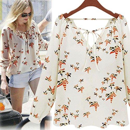Tenworld Women Tether Blouse Chiffon Floral Summer Casual Long Sleeve T-Shirt (XL = US 10