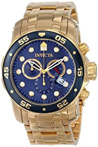 Invicta 0073 Mens Pro Diver Scuba Gold Plated Steel Chronograph Blue Swiss Watch