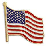 United States Waving American Flag Stars and Stripes Lapel Pin (Color: red, white and blue, Tamaño: 3/4