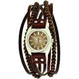 Kahuna Ladies Analogue Dial Wooden Beads Genuine Leather Brown Strap Watch