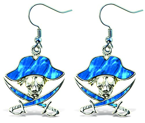 Puzzled Pirate Dangle Post Fish Hook Earrings - 1