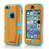 Meaci Iphone 5c Case Hard Soft Combo Hybrid Defender High Impact Body Armorbox Hard Pc&silicone Case (Wood Pattern&blue)