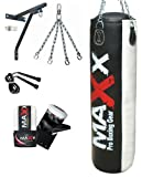 5pcs Punch bag set 5ft blk/Red Rex Leather boxing punchbag wall Bracket & Gloves