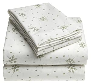 novelty snowflake 100 cotton luxury flannel twin extra long sheet set lotus. Black Bedroom Furniture Sets. Home Design Ideas