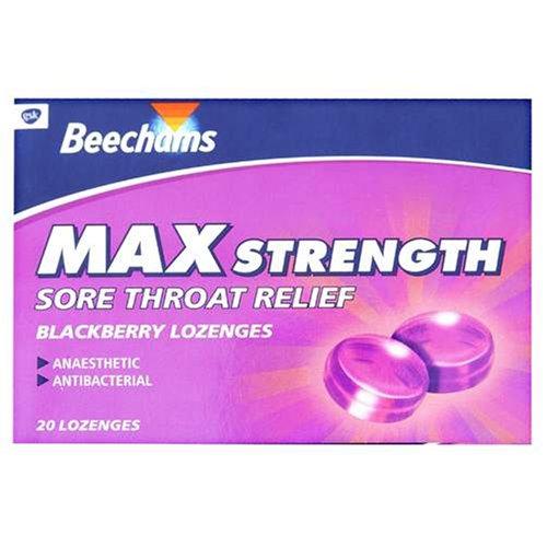 Beechams Sore Throat Relief Lozenges Max Strength Blackberry 20