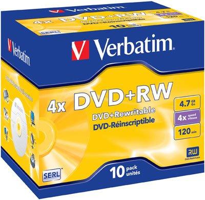 Verbatim - 10 x DVD RW - 4.7 Go ( 120 minutes ) 4x - argent mat - boîtier CD