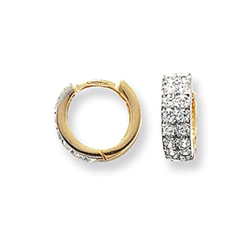 9ct Yellow Gold 10MM Cubic Zirconia Set Hinged Hoop Earrings