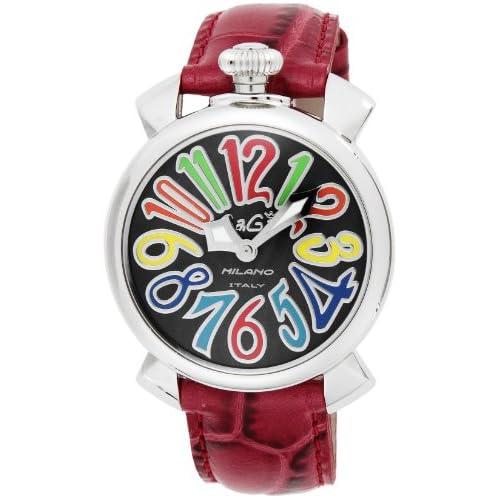 [ガガミラノ]GaGa MILANO 腕時計 マニュアーレ40mm ブラック文字盤  カーフ革ベルト 5020.2-RED  【並行輸入品】