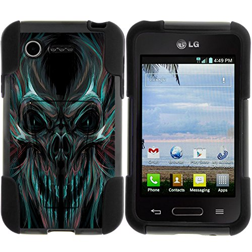 Optimus Fuel L34C Case, STRIKE Impact Hard Shell Cover Case with Kickstand and Artistic Designs for LG Optimus Fuel L34C, Zone 2 VS415PP from MINITURTLE - Blue and Red Skull (Lg Optimus Fuel Cell Phone compare prices)