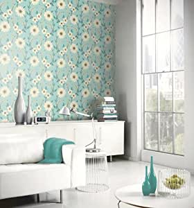 Teal beige brown 414202 stansie floral for Teal kitchen wallpaper