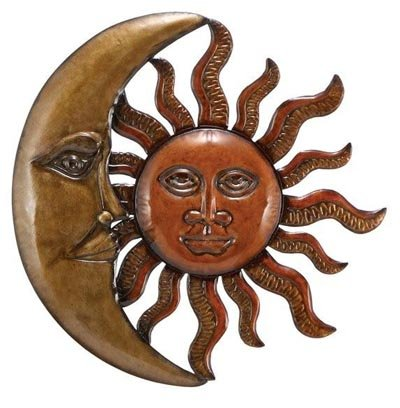 Celestial Sun Moon Wall Art Hanging Metal Plaque