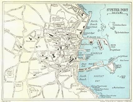 Amazon.com: GUERNSEY: St. Peter Port town plan. Channel Islands ... Saint Peter Port Map