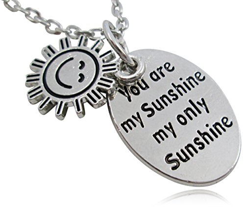 "Silver Tone ""You Are My Sunshine My Only Sunshine"" Oval Charm Necklace - BOTH SIDES INSCRIBED"