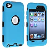 eForCity Hybrid Case compatible with Apple® iPod Touch® 4th Generation, Black Hard/ Sky Blue Skin