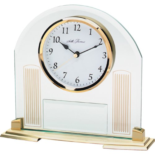 Seth Thomas Shelton Arched Beveled Glass and Metal Case with Gold Tone Bezel White Floating Dial Desk and Table Clock