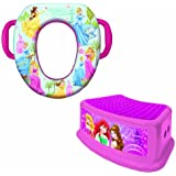 Disney Princesses Potty Seat and Step Stool Combo Set - Padded and Soft Potty Seat and Durable Step Stool - For Regular and Elongated Toilets - Portable - Easy Cleaning - Pink