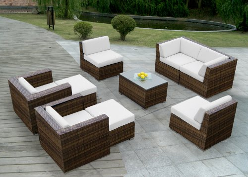Ohana Collection PN0910MB 9-Piece Outdoor Patio Sofa Wicker Sectional Furniture Couch Set, Mixed Brown photo