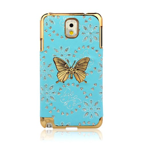 Bluesky Eyecatching Bling Leather Skin Butterfly Case Cover For Samsung Galaxy Note 3 Iii N9000 (Blue)