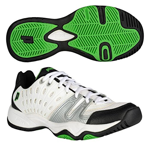Prince T22 Junior Tennis Shoes, Color- White/Black/Green, Size- 1.5 UK