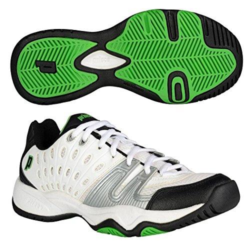 Prince T22 Junior Tennis Shoes, Color- White/Black/Green, Size- 1.5 UK