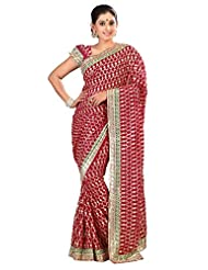 Designer Startling Maroon Colored Embroidered Faux Georgette Saree By Triveni
