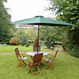 Home & Garden Direct 3x2m Garden Rectangular Aluminium Wind Up Parasol Green