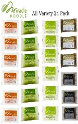 Miracle Noodle All Variety 24 Pack - 6 of Each - Shirataki Angel Hair Pasta, Shirataki Fettuccini Pasta and Shirataki Miracle Rice 3 Each of Garlic and Herb and Black Fettuccini