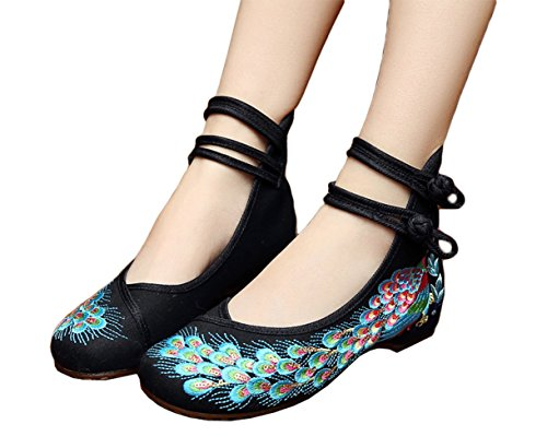 AvaCostume Peacock Embroidery Spangly Beading Girls Platform Prom Dress Shoes, Black, 38