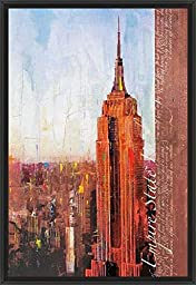 26in x 38in Fifth Avenue and West 34th Street by Markus Haub - Black Floater Framed Canvas w/ BRUSHSTROKES