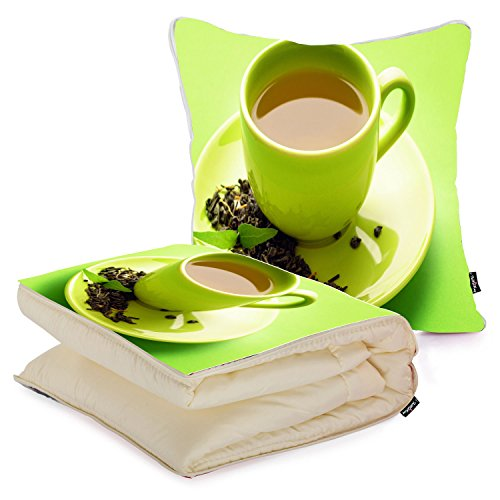 i FaMuRay Green Tea Cuscino e Coperta da Viaggio