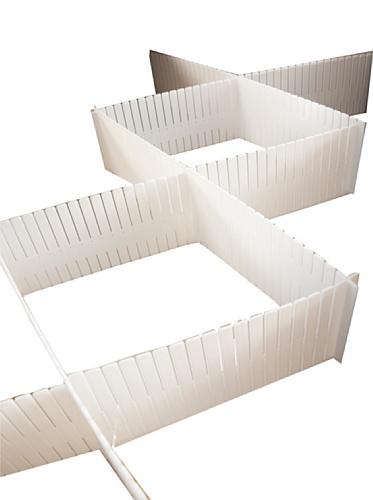 Rangement & Cie RAN5191 Organisateur de Tiroir Polypropylène Rigide Blanc Lot de 6 Plaques 44 x 44 x 10 cm