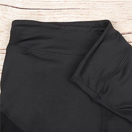 Nulibenna Women's Mesh Stretchy Workout Sportys Yoga Leggings Ninth Pants,Black 1,Small