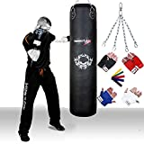 TurnerMAX Genuine Cowhide Leather Boxing Punch Bag Heavy FILLED with Free Chain and Bag Gloves Kickboxing punching bag Black 5 ftby TurnerMAX