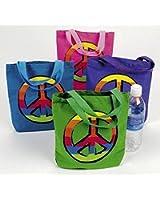 "12 PEACE SIGN Canvas TOTE Bags/HIPPIE/60s RETRO/8.5""/Dozen BIRTHDAY PARTY FAVORS"
