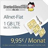 DeutschlandSIM PremiumSIM LTE S [SIM, Micro-SIM und Nano-SIM] 24 Monate Vertragslaufzeit (1 GB LTE Daten-Flat mit max. 21,1 MBit/s, Telefonie-Flat, 9ct pro SMS, 9,95 Euro/Monat in den ersten 12 Monaten, danach 14,95 / Monat) O2-Netz