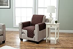 Deluxe Reversible Quilted Furniture Protector. Two Fresh Looks in One. By Home Fashion Designs. (Chair - Chocolate / Flax)